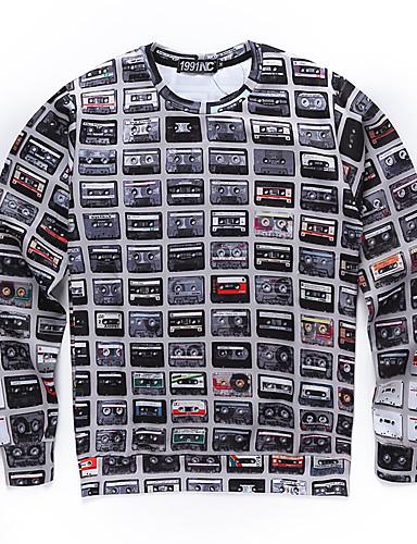Print-Informeel / Werk / Formeel / Sport-Heren-Polyester-Hoodie & sweatshirt-Lange mouw-Grijs