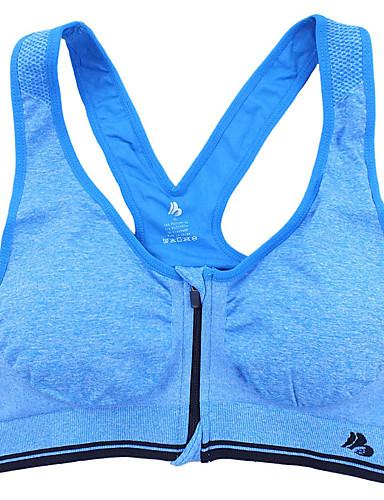 ddc4a34a2 Costas Nadador Zíper Frontal Sutiã Esportivo Acolchoado Sustentação Leve  para Zumba Ioga Corrida Azul Azul Claro Melancia Vermelho Respirável Tapete  3D ...