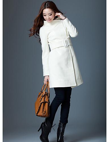 Vrouwen Vintage / Eenvoudig Herfst / Winter Jas,Uitgaan / Casual/Dagelijks / Werk V-hals-Lange mouw Wit Effen Medium Wol / Polyester