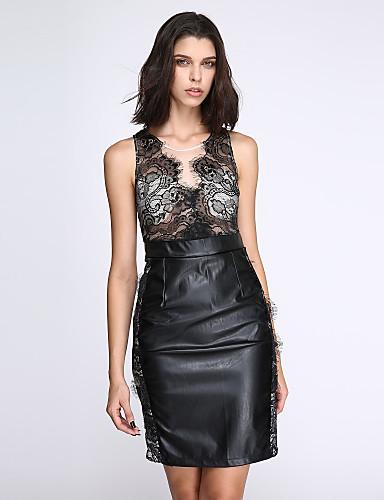 여성용 바디콘 드레스 - 솔리드, 레이스