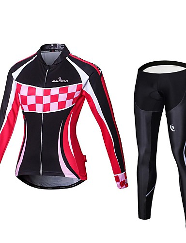 cheap Cycling Clothing-Malciklo Women's Long Sleeve Cycling Jersey with Tights - Black / Pink Plaid / Checkered Plus Size Bike Tights Breathable 3D Pad Quick Dry Sports Coolmax® Elastane Lycra Plaid / Checkered Mountain