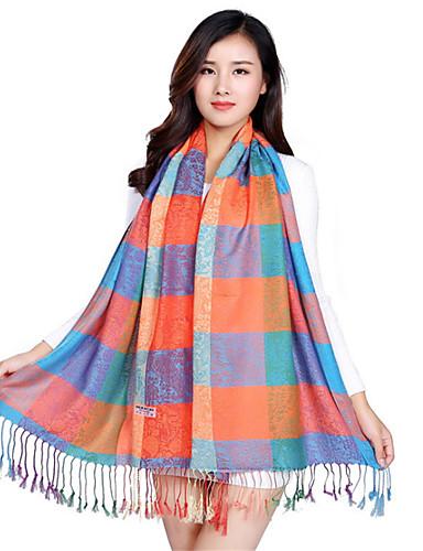 Damer Vintage / Casual Kashmir Halstørklæde-Plaid Rektangulær Pink / Orange