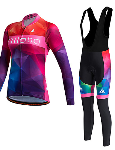 cheap Cycling Clothing-Miloto Women's Long Sleeve Cycling Jersey with Bib Tights - Red Bike Clothing Suit, Thermal / Warm, Quick Dry, Fleece Lining, Sweat-wicking, Winter, Polyester, Fleece Gradient / Stretchy / Plus Size