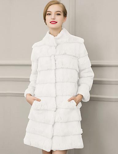 Vrouwen Street chic Winter Bontjas,Casual/Dagelijks / Grote maten Opstaand-Driekwart mouw Wit / Zwart Effen Dik Imitatiebont