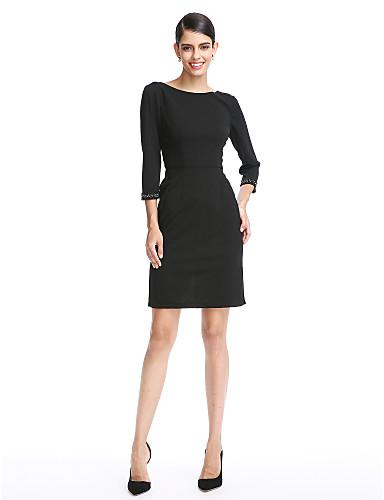 Tube / kolonne Høj halset Kort / mini Chiffon Lille sort kjole Cocktailparty / Formel aften Kjole med Plissé ved TS Couture®