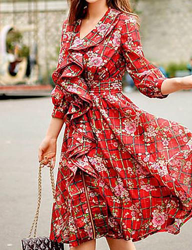 Bayanlar Polyester / Naylon / Splandeks Diz üstü ¾ Kol Uzunluğu Kalp Yaka Fırfırlı Bayanlar Elbise