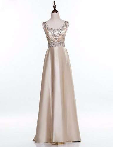 A-Linie Quadratischer Ausschnitt Boden-Länge Satin Formeller Abend Kleid mit Perlenstickerei Plissee durch Shang Shang Xi