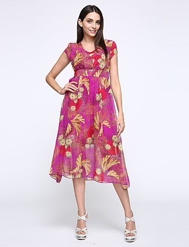 dfe4afc38e De las mujeres Gasa Vestido Casual Diario   Tallas Grandes Boho   Chic de  Calle