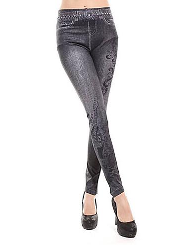 Mulheres Denim Legging - Sólido, Estampado Cintura Média / Skinny
