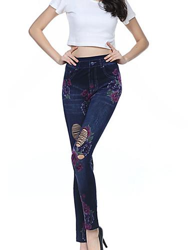 Vrouw Print Gerafeld Denim Legging,Katoen Spandex