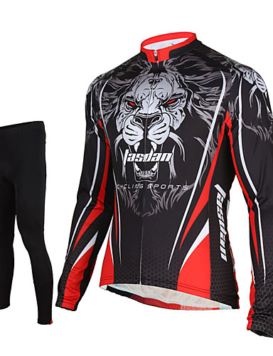 cheap Cycling Clothing-TASDAN Men's Long Sleeve Cycling Jersey with Tights Black Lion Bike Pants / Trousers Jersey Tights Breathable 3D Pad Quick Dry Reflective Strips Back Pocket Winter Sports Elastane Lion Mountain Bike