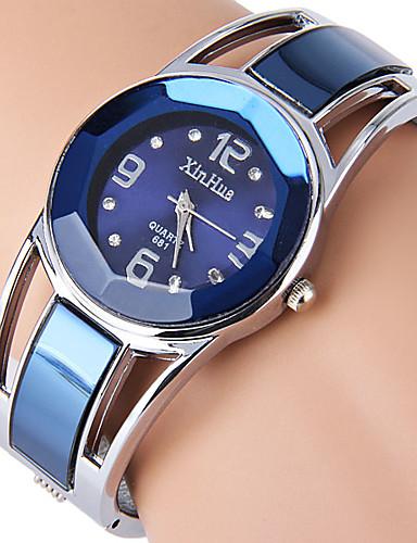 baratos Relógios de Pulseira-Mulheres senhoras Relógios Luxuosos Bracele Relógio Simulado Diamante Relógio Quartzo Aço Inoxidável Preta / Azul Com Strass imitação de diamante Analógico Rígida Fashion Relógio Elegante - Preto