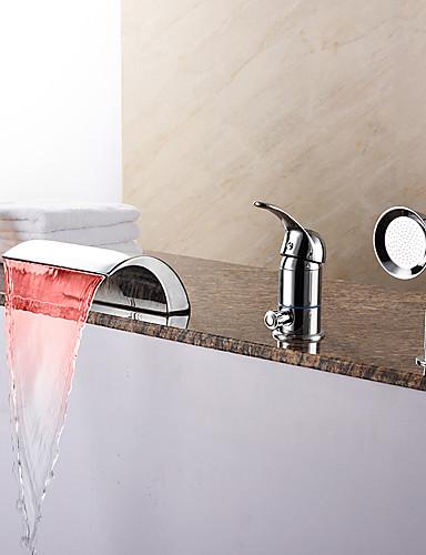 billige LED Badekarskran-Badekarskran - Moderne Krom Romersk kar Keramisk Ventil Bath Shower Mixer Taps / Messing / Enkelt håndtak tre hull