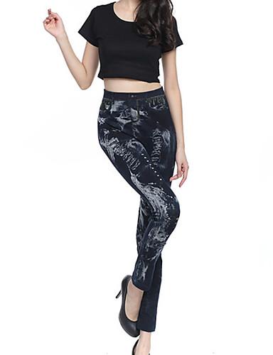 Damer Ensfarvet Trykt mønster Hullet Denim Legging,Bomuld