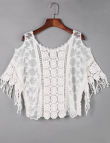 Vrouwen Boho Herfst T-shirt,Uitgaan Effen Schouderafhangend Korte mouw Wit Katoen Dun