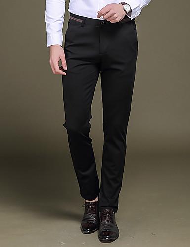 Pánské Retro Jednoduchý Šik ven Mikro elastické Oblek Kalhoty chinos Kalhoty Rovné Štíhlý Low Rise Čistá barva Jednobarevné