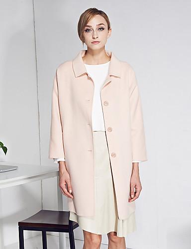 c + imponere kvinder gå ud simpel coatsolid peter pan krave langærmet vinter lyserød uld tyk