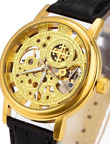 CAGARNY Heren Skeleton horloge Modieus horloge Polshorloge mechanische horloges Automatisch opwindmechanisme Hol Gegraveerd Echt leer Band