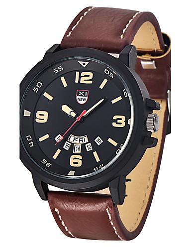Hombre Reloj de Moda / Reloj Militar Calendario Piel Banda Encanto Negro / Naranja / Marrón / Acero Inoxidable