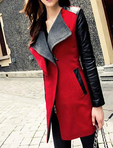 여성의 컬러 블럭 / 패치 워크 긴 소매 트렌치 코트 블루 / 레드 / 블랙 울 / 폴리우레탄 / 그외 가을 중간