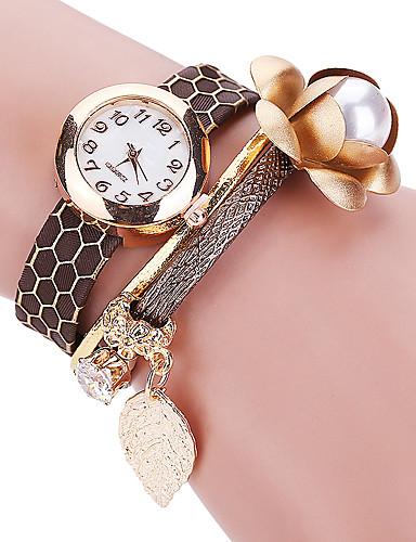 Mulheres Relógio de Moda Bracele Relógio Relógio Casual Quartzo / PU Banda Flor Legal Casual Preta Branco Azul Vermelho Marrom RosaPreto