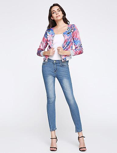 Dame Bomull Skinny / Jeans Bukser Ensfarget