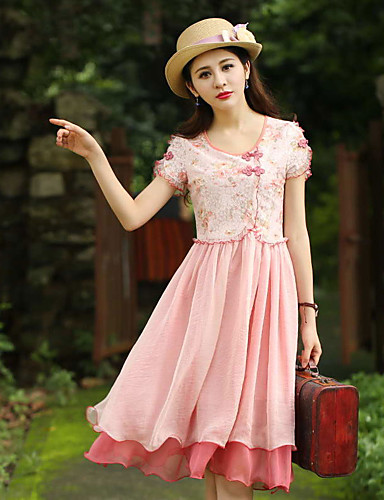 Dame Vintage I-byen-tøj Skede Kjole Blomstret,Rund hals Knælang Kortærmet Rosa Polyester Sommer Højtaljede Uelastisk Medium