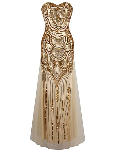 Sheath / Column Sweetheart Floor Length Polyester Sequined Formal Evening Dress with Sequin Draping Pleats by LAN TING Express