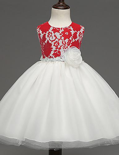 Mädchen Kleid Ausgehen Jacquard Polyester Sommer Ärmellos Fuchsia Rot Blau