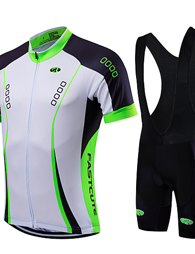 cheap Cycling Clothing-Fastcute Men's Short Sleeve Cycling Jersey with Bib Shorts - Light Green Bike Jersey Bib Tights Clothing Suit Breathable Quick Dry Sports Coolmax® Lycra Fashion Mountain Bike MTB Road Bike Cycling