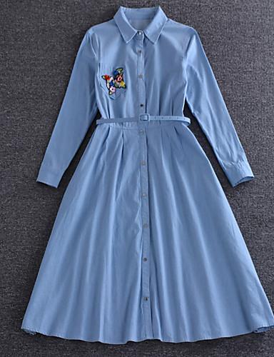Dame Vintage / Simpel / Sødt I-byen-tøj / Casual/hverdag / Ferie Løstsiddende Kjole Ensfarvet / Blomstret,Krave Knælang Langærmet Blå