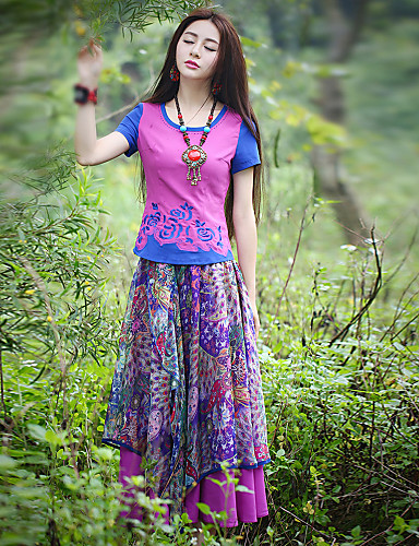 Kvinders Sofistikerede Maxi Nederdele Mikroelastisk Polyester