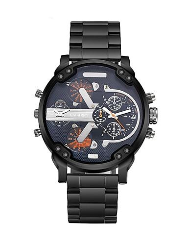 CAGARNY Hombre Reloj de Moda / Reloj de Pulsera Dos Husos Horarios / Cool Acero Inoxidable Banda Lujo / Vintage Negro / Blanco