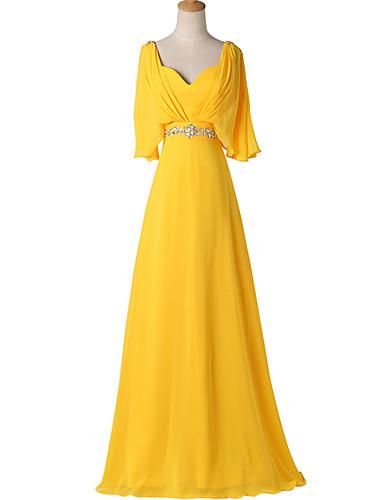 A-Linie V-Ausschnitt Boden-Länge Chiffon Formeller Abend Kleid mit Perlenstickerei Plissee durch Shang Shang Xi