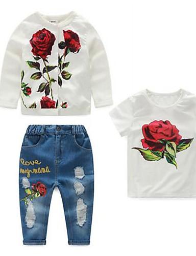 Pigens Jeans / Tøjsæt Bomuld Blomstret Casual/hverdag Forår / Efterår Hvid
