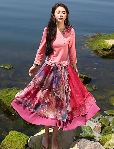 Langærmet Rund hals Blank Kvinders Hvid Ensfarvet Forår / Efterår Kineseri I-byen-tøj T-shirt,Polyester / Spandex