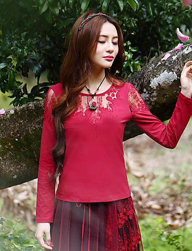 Langærmet Rund hals Medium Kvinders Rød Broderi Forår / Efterår Vintage I-byen-tøj T-shirt,Rayon / Spandex