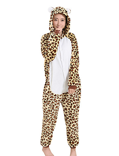 Adults  Kigurumi Pajamas Leopard Onesie Pajamas Velvet Mink Brown Cosplay  For Men and Women Animal Sleepwear Cartoon Festival   Holiday Costumes 335a3c1a9