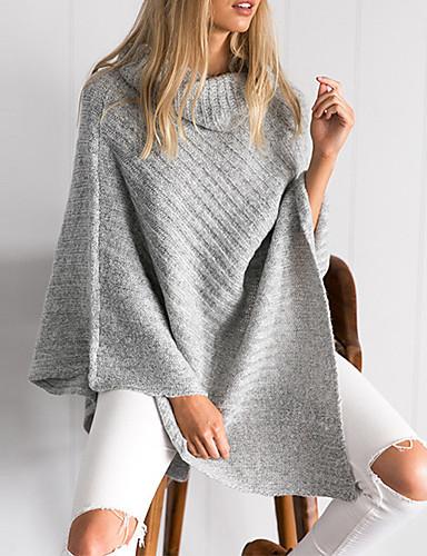 Dames Casual/Dagelijks Eenvoudig Street chic Lang Cloak / Capes Effen-Bruin Grijs Coltrui Lange mouw Katoen Polyester Herfst Winter Dik