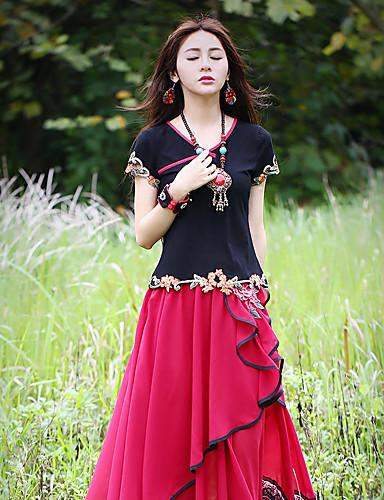 Dames Chinoiserie Zomer T-shirt,Uitgaan Geborduurd Sweetheart Korte mouw Katoen Spandex Medium