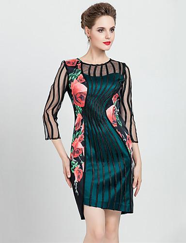 Damen Übergrössen Hülle Kleid Blumen Patchwork