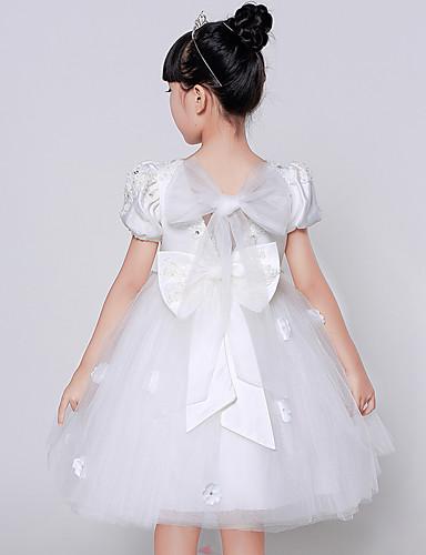 Baljurk knie lengte bloem meisje jurk - organza korte mouwen juweel nek