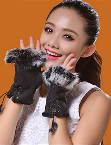 Unisex Party Büro Handgelenk-Länge Halbfinger Handschuhe Patchwork