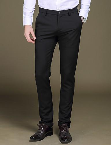 Pánské Retro Jednoduchý Šik ven Mikro elastické Kalhoty chinos Provozovna Kalhoty Rovné Štíhlý Low Rise Čistá barva