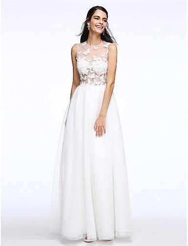 A-Şekilli Illüzyon boyun çizgisi Yere Kadar Tül Fiyonk ile Kıyafetli Gelinlikler tarafından LAN TING BRIDE® / Transparan Elbiseler