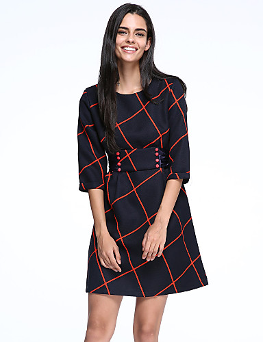 Women's Work Casual Cotton Loose Sheath Skater Dress - Color Block Plaid Bow