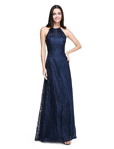 billige Lange brudepikekjoler-A-linje Grime Gulvlang Heldekkende blonder Brudepikekjole med Plissert av LAN TING BRIDE®