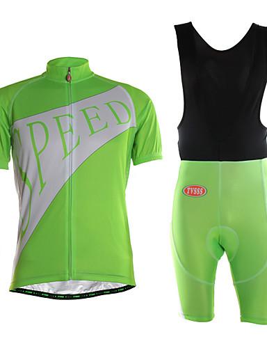 cheap Cycling Clothing-TVSSS Men's Short Sleeve Cycling Jersey with Bib Shorts - Green British Bike Clothing Suit 3D Pad Quick Dry Sweat-wicking Sports Lycra Classic Mountain Bike MTB Road Bike Cycling Clothing Apparel