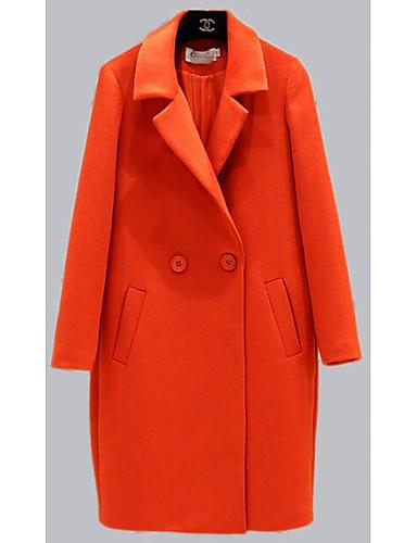 女性 カジュアル/普段着 ソリッド コート,シンプル ピンク / オレンジ 特殊毛皮タイプ 長袖