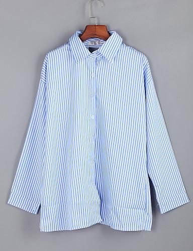 Dames Blouse Effen Gestreept Overhemdkraag Polyester